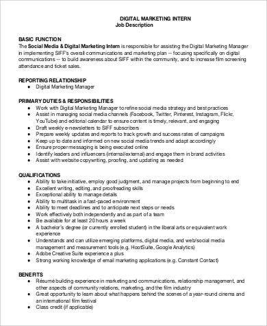 Social Media Marketing Job Description - Resume Template Sample - video editor job description