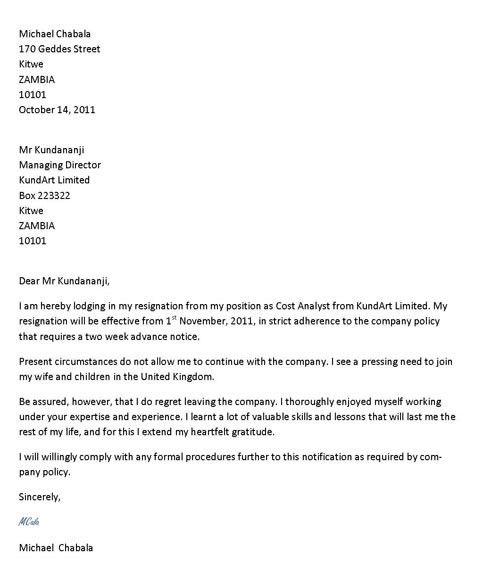 Resignation Letter Format: Best good letter of resignation example ...