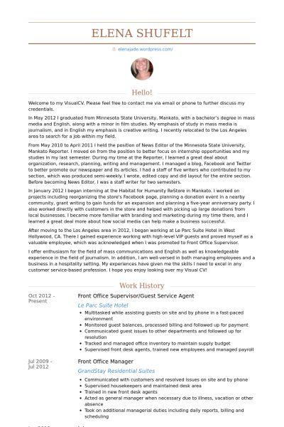 Guest Service Agent Resume samples - VisualCV resume samples database