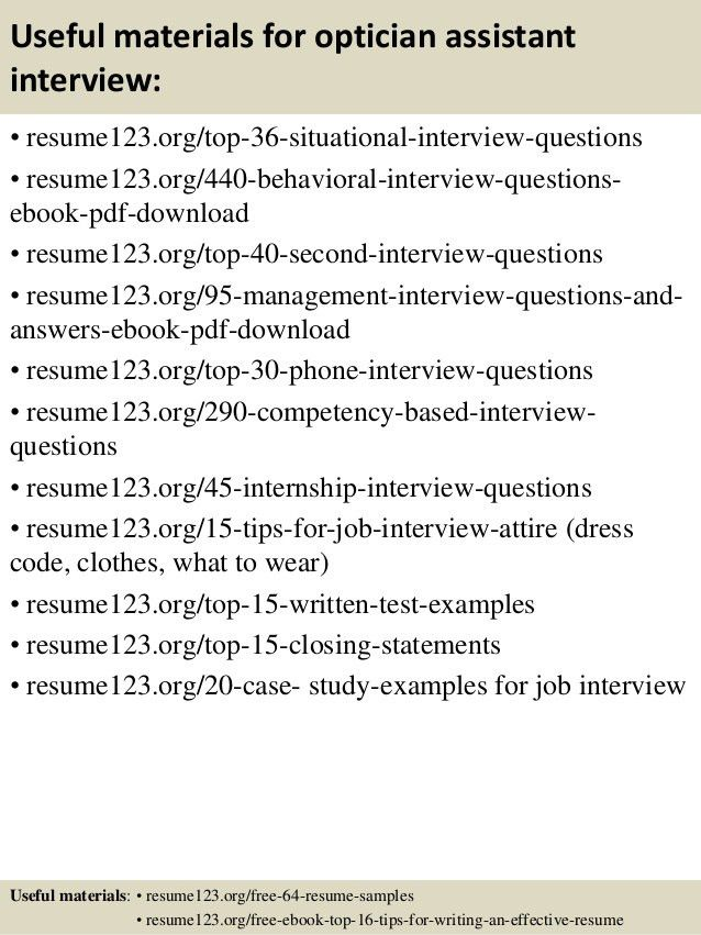 Optician Assistant Sample Resume - Resume Templates