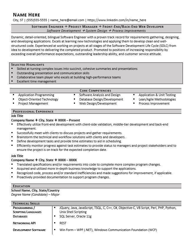 Software Engineer Resume Example and Tips - ZipJob