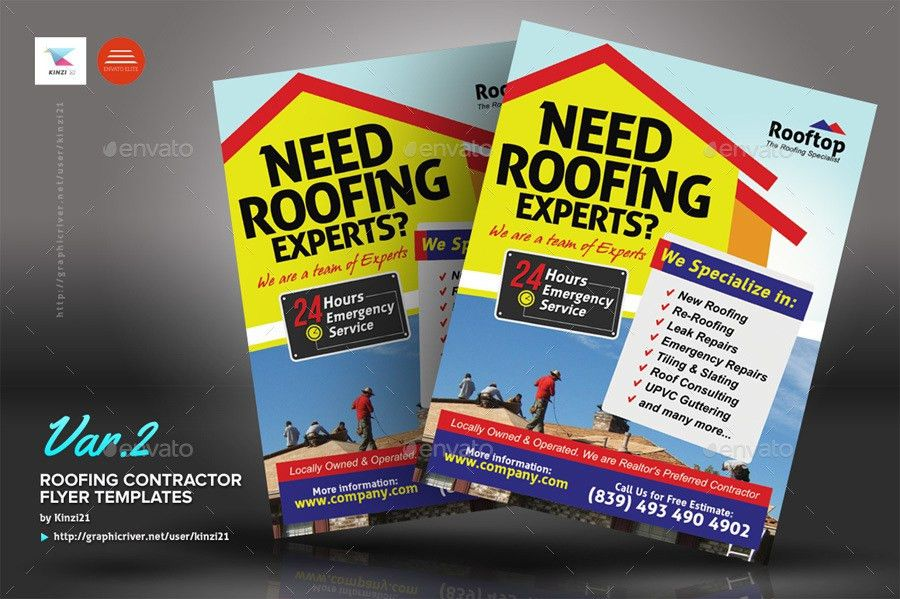 Roofing Contractor Flyer Templates by kinzi21 | GraphicRiver