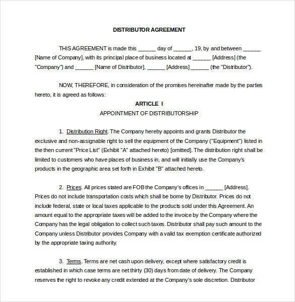 Distribution Agreement Template – 11+ Free Word, PDF Documents ...