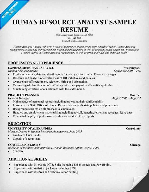 hr resume objective 12 sample human resources resume human ...