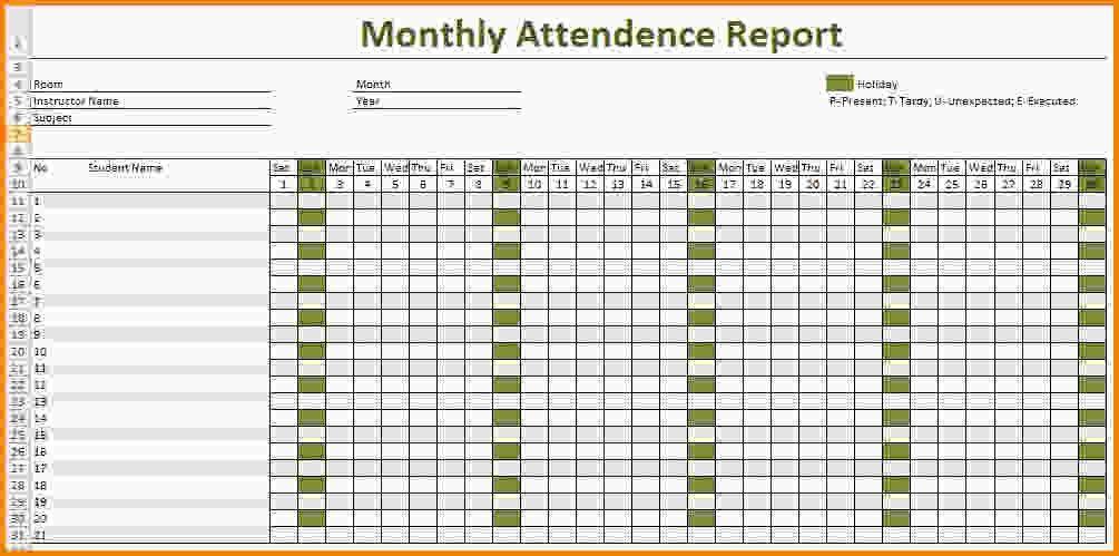 9+ attendance spreadsheet template | Letter Template Word