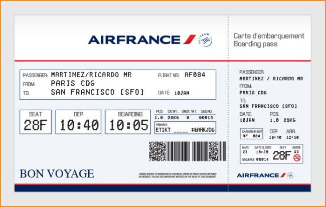 Elegant Airfrance Airlines Ticket Template Example with Passenger ...