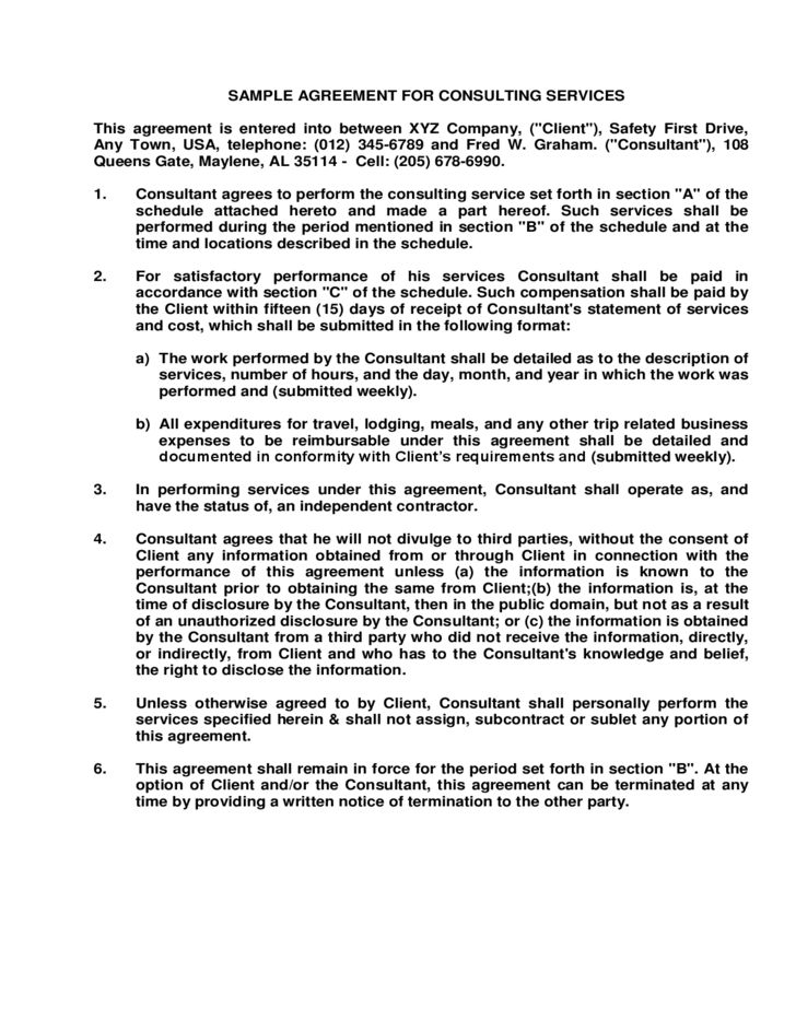 Sample Agreement for Consulting Services Free Download