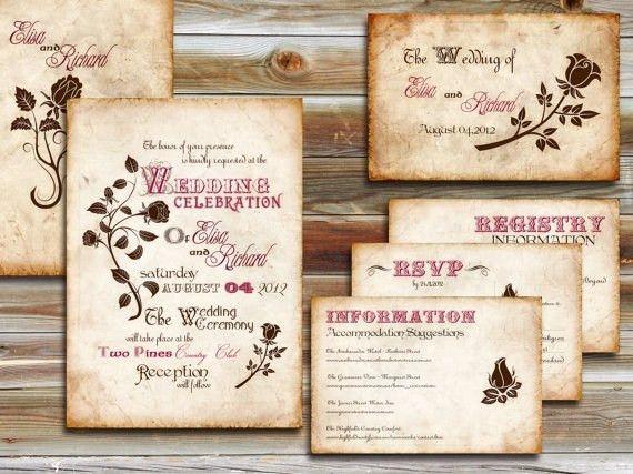 romantic diy vintage wedding invitations | ROMANTIC ELEGANT ...
