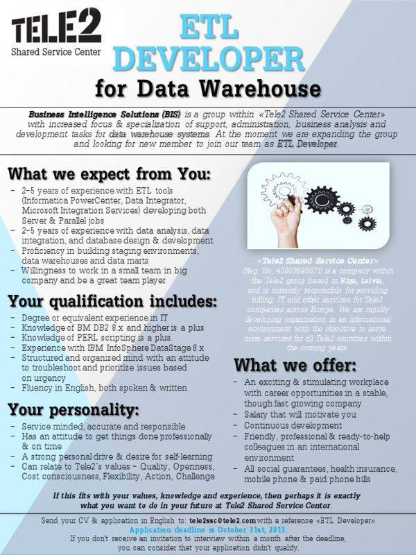 LikeIT | ETL Developer for Data Warehouse at Tele2 Shared Service ...