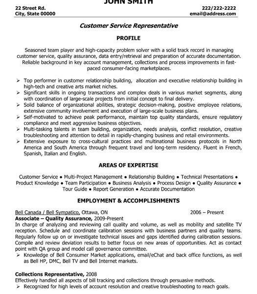 Inspiring Sample Resumes For Customer Service Representative ...