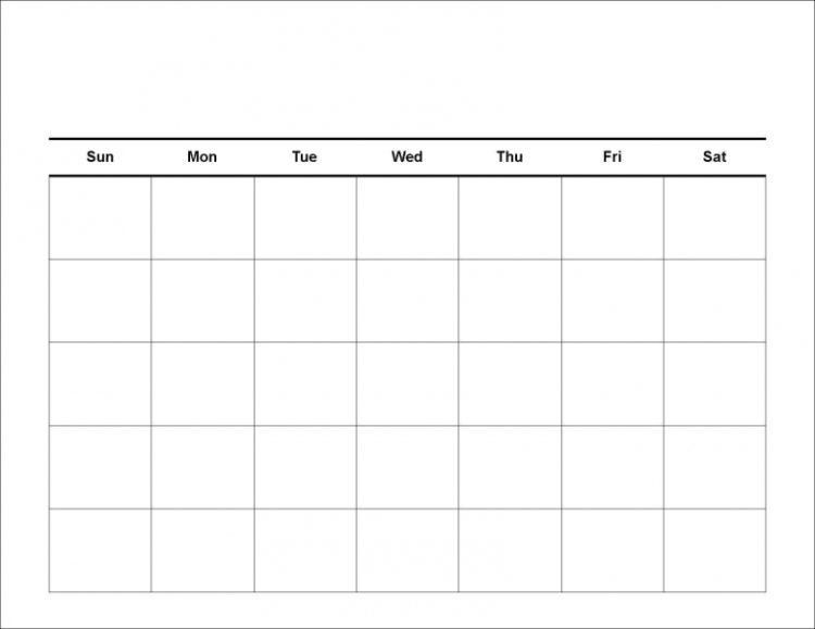 Blank calendar template blank calendar template free printable printable blank calendar template pdf pronofoot35fo Image collections