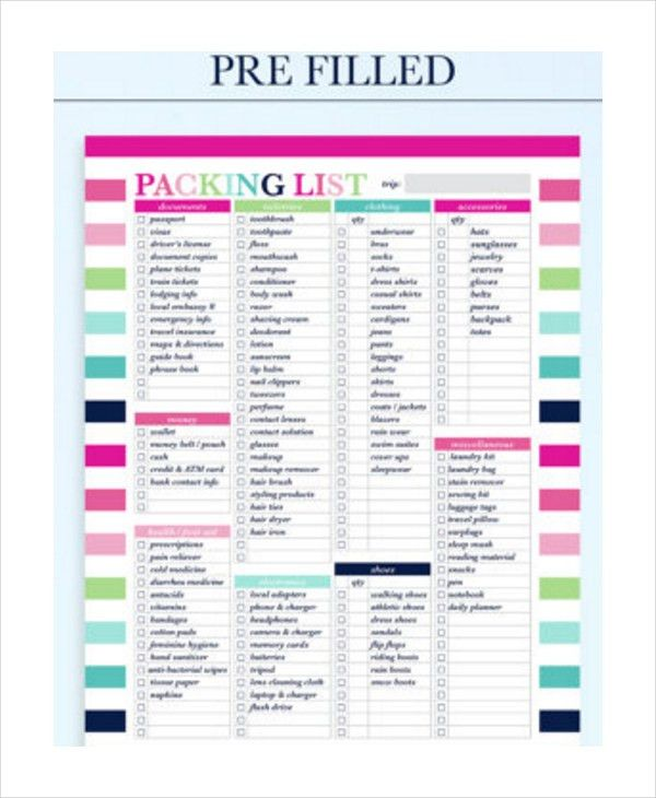 Packing List Template. Vacation Checklist Sample Travel Checklist ...