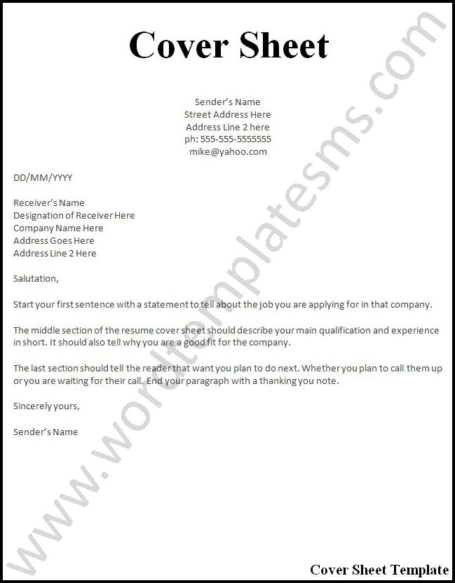 What Is A Resume Cover Sheet #10962