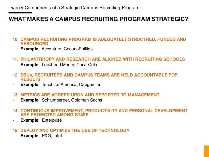 20 Components of a Strategic Campus Recruiting Program