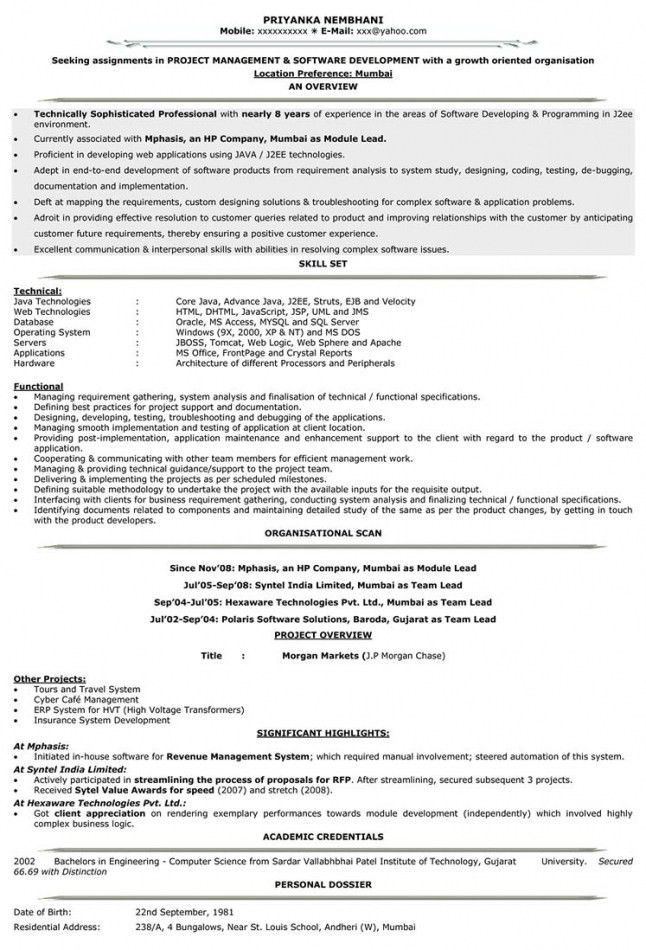 Resume Format For 1 Year Experienced Java Developer | Resume ...