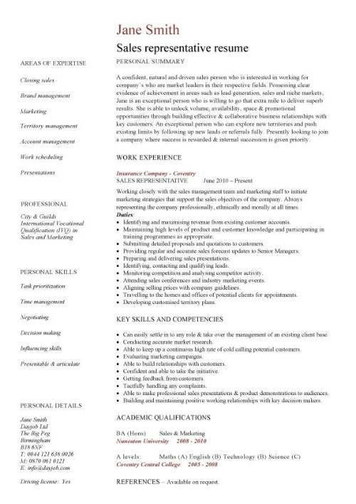 Sales rep resume, representative, example,