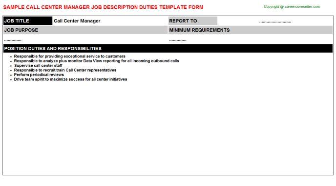 Call Center Manager Job Title Docs
