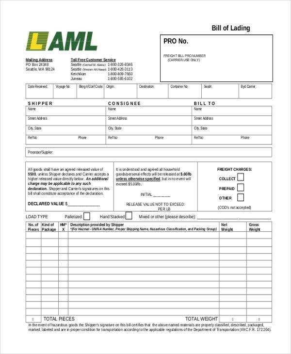 Sample Bill of Lading Form - 13+ Free Documents in PDF