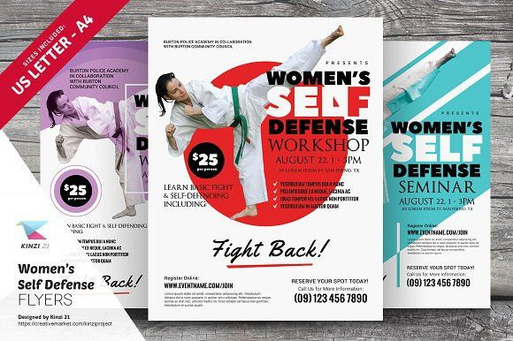Women's Self Defense Flyer Templates by kinzi21 on @creativemarket ...
