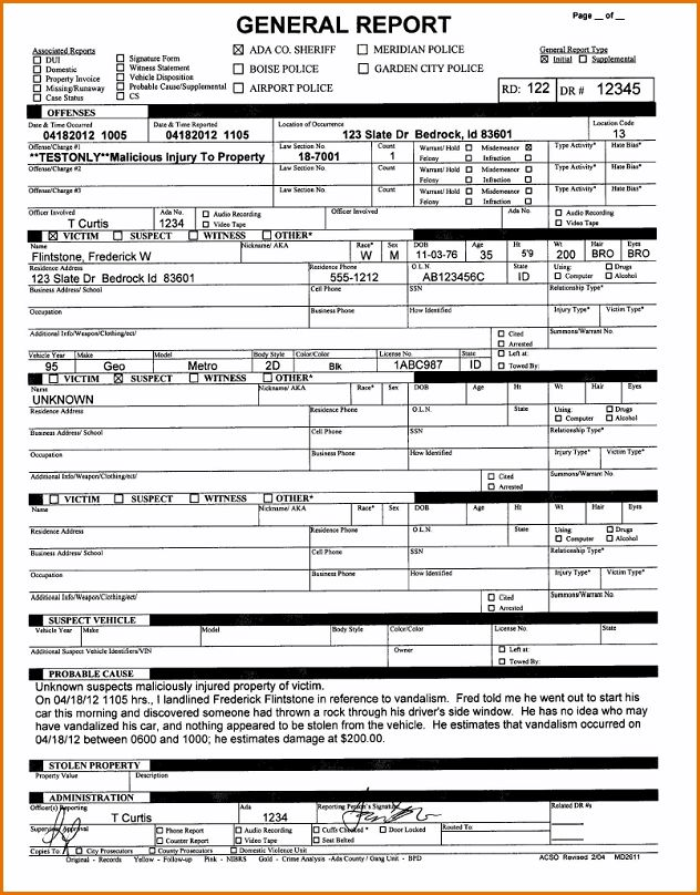 7+ police report template | Job Resumes Word