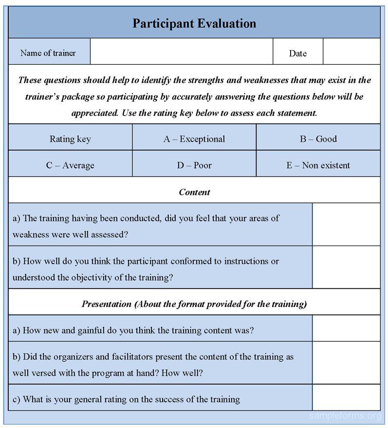 Participant Evaluation Form, Sample Participant Evaluation Form ...