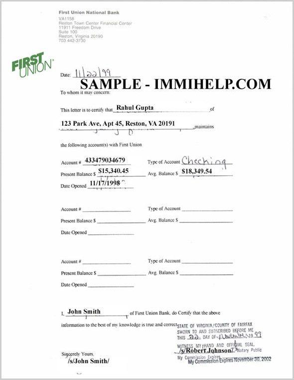 Sample Bank Account Verification Letter - Sponsor USA visitors visa