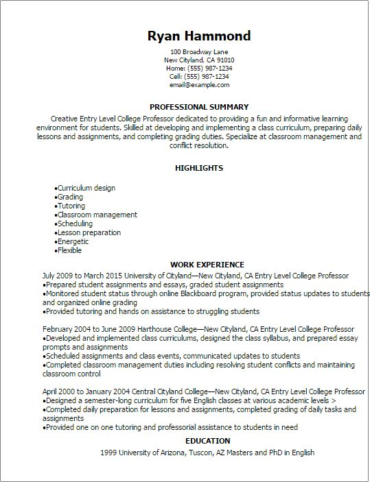 Professional Entry Level College Professor Resume Templates to ...