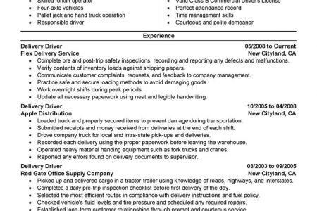 truck driver sample resume truck driver resume sample professional ...