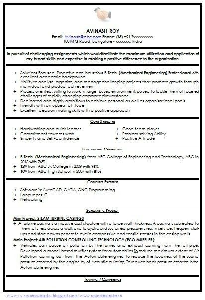 Sample Resume Engineering Students Freshers. sample cv for ...