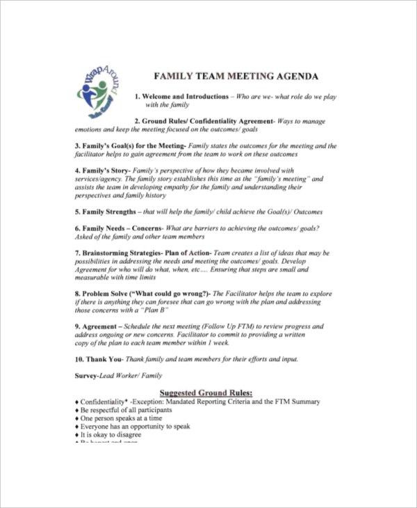 8+ Family Meeting Agenda Templates – Free Sample, Example Format ...