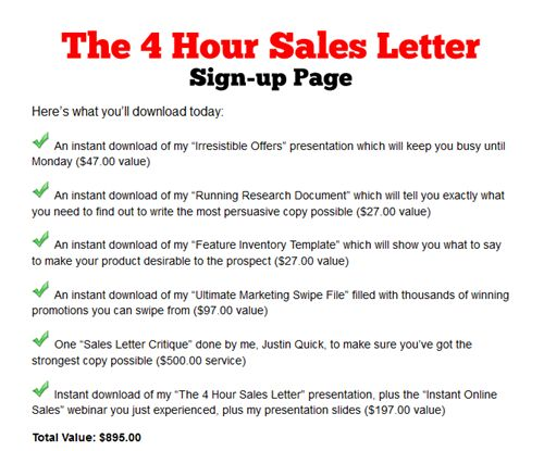 Quick Marketing – 4 Hour Sales Letter