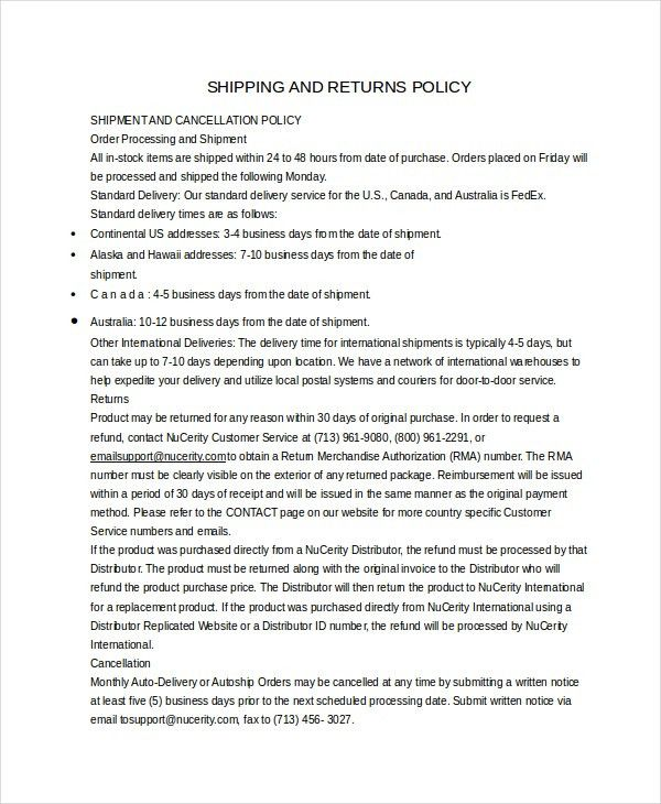 Return Policy Template - 7+ Free Word, PDF Document Downloads ...