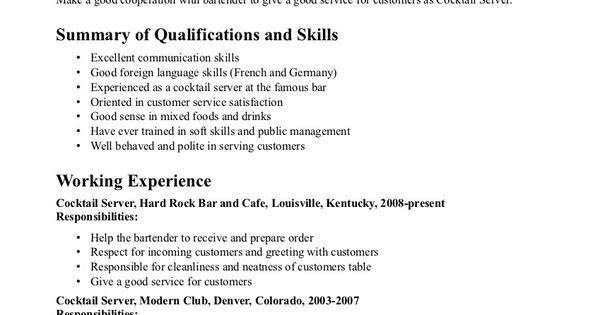 Bartender Duties For Resume - formats.csat.co