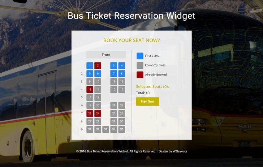 Bus Ticket Reservation Widget Flat Responsive Widget Template