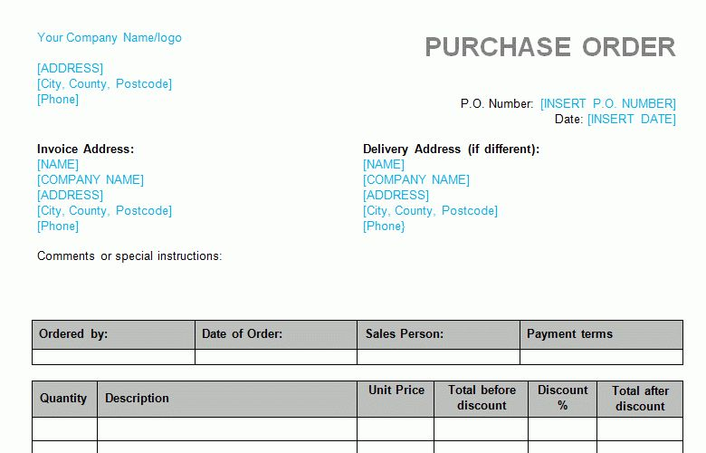 Purchase Order (with Agreed Discount) Template - Word Format - Bizorb