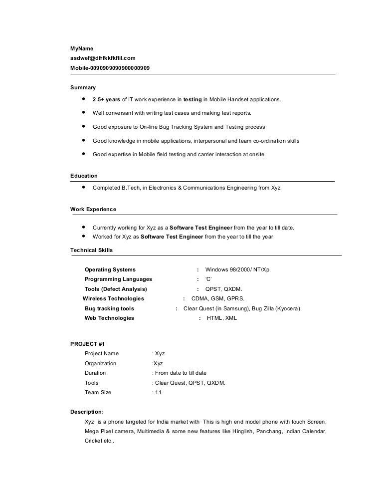 Wonderful Looking Mobile Testing Resume 10 Sample Manual Testing ...