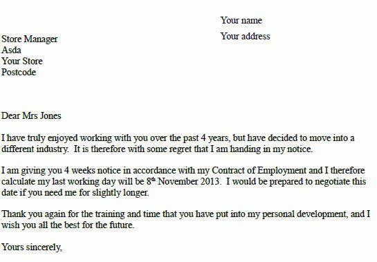 Asda Resignation Letter Example - Resignation Letter Examples