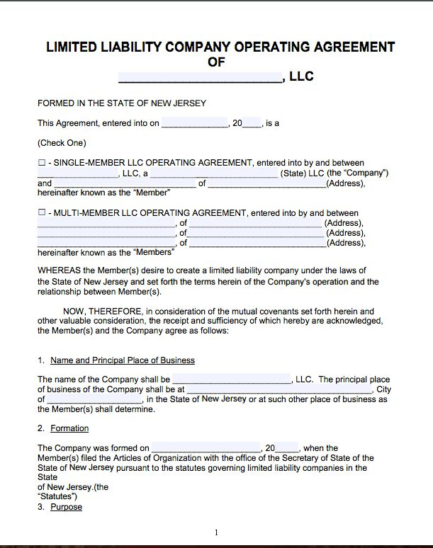 Free New Jersey LLC Operating Agreement Template | PDF | Word |