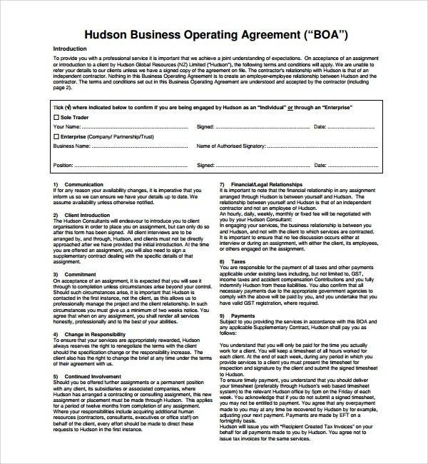 Sample Business Operating Agreement   7+ Free Documents Download .