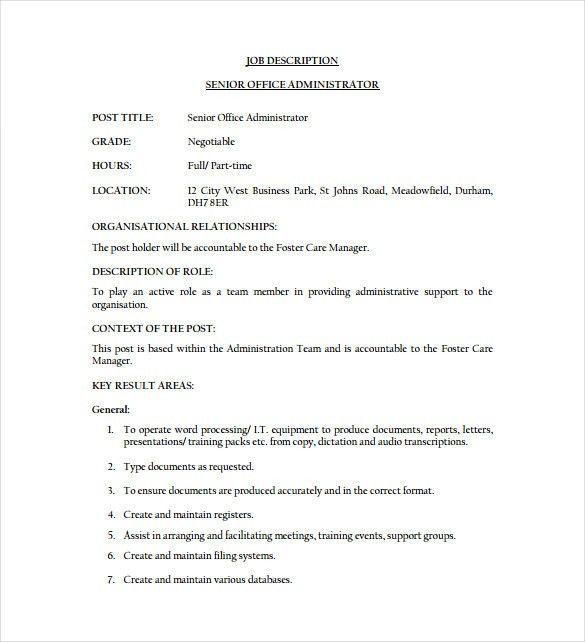 Download Job Description Of Business Administration ...