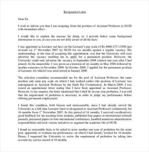 Teacher Resignation Letter Template - 14+ Free Sample, Example ...