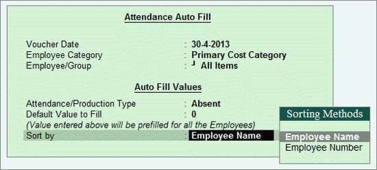 Creating Attendance or Production Vouchers (Payroll) in Tally ERP ...