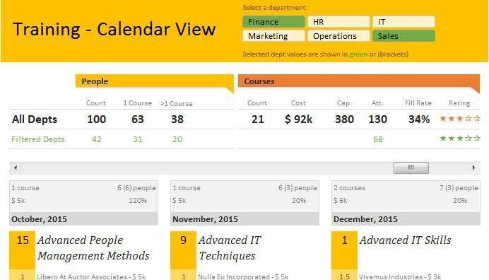 Training Tracker with Calendar Template in Excel | Diane Kulisek ...