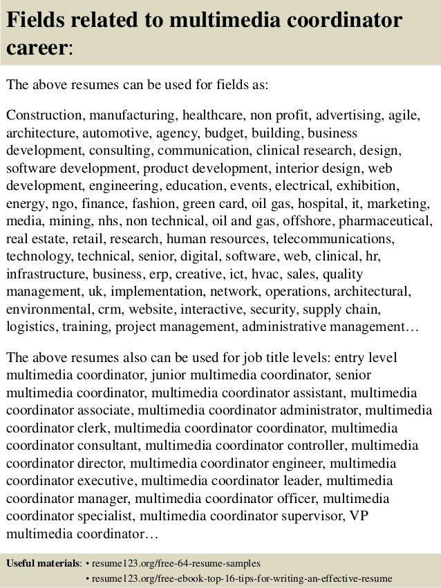 Top 8 multimedia coordinator resume samples