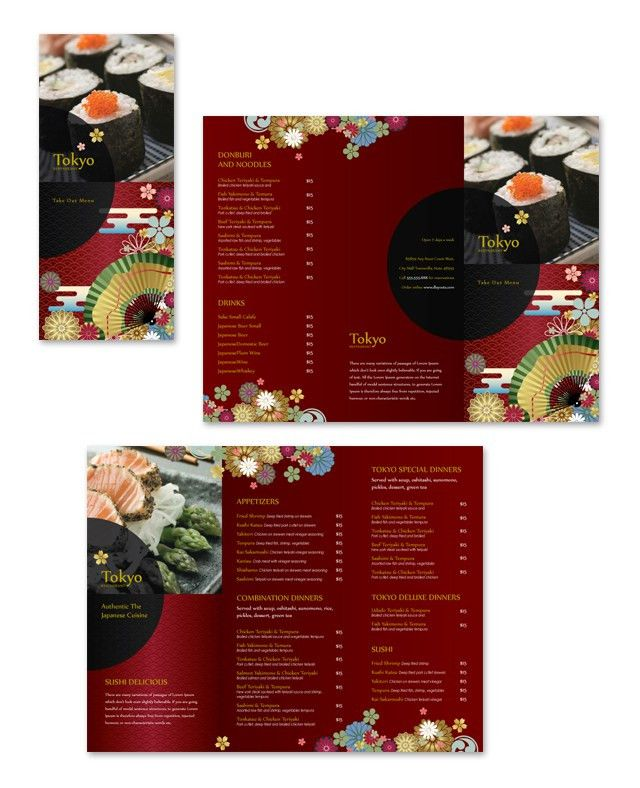 Japanese Restaurant Take-out Menu Template | Graphic Design ...