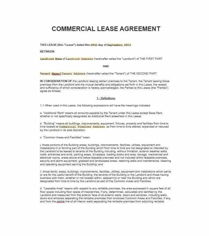 Sample Rental Agreement. Free Sample Rental Agreement In Pdf File ...