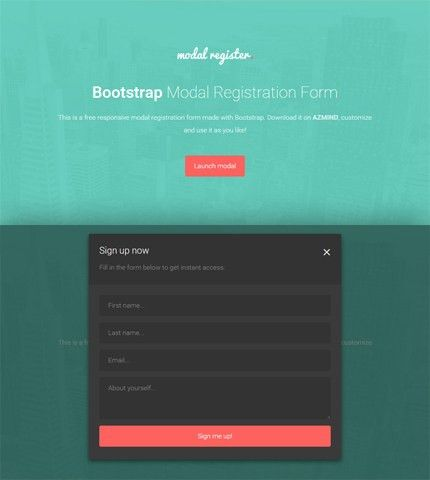 Bootstrap Modal Registration Forms: 2 Free Templates | AZMIND