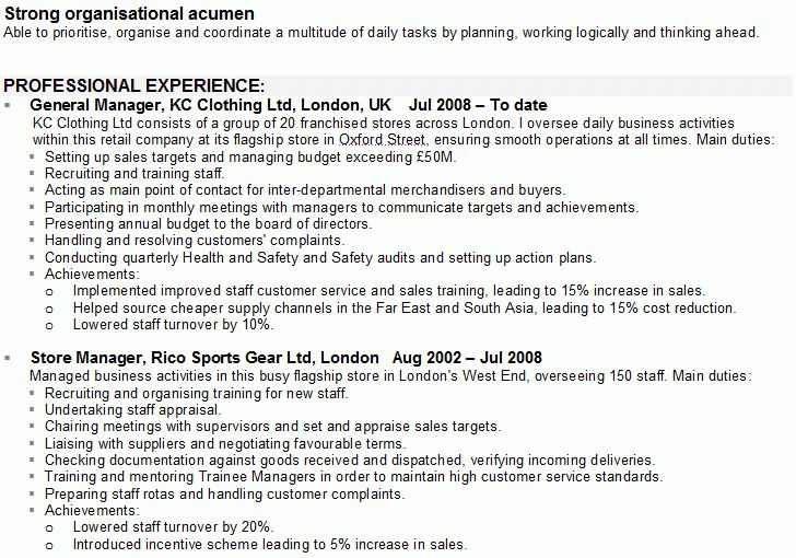 Retail Manager CV Sample