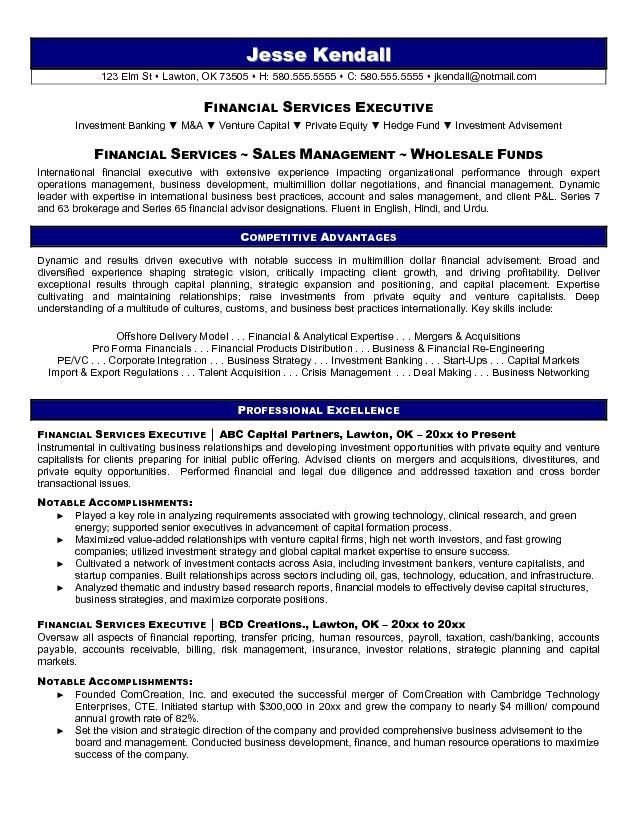 Example Financial Services Executive Resume - Free Sample