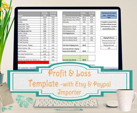 Profit and Loss Template for Self Employed - Etsy and Paypal ...